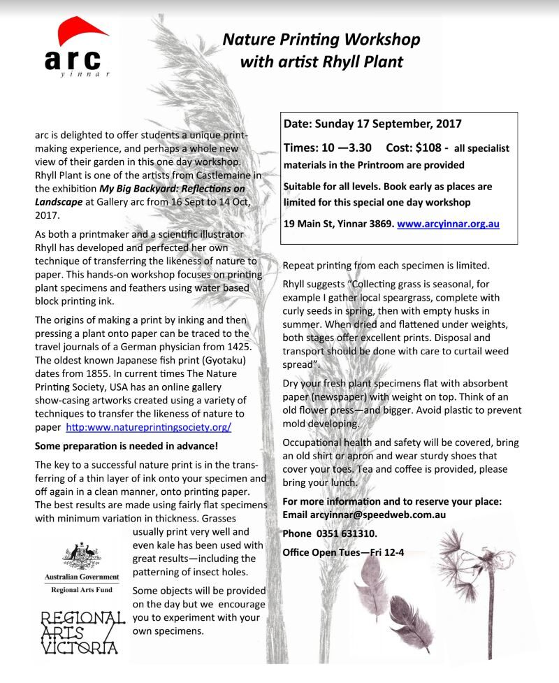 Nature Printing Workshop  with artist Rhyll Plant Sunday 17 September, 2017